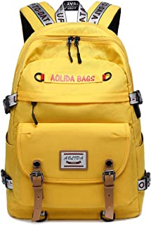 AGOWOO College Backpack for Women Teen Heavy Duty Laptop High School Book Bag with USB Port Chest Strap
