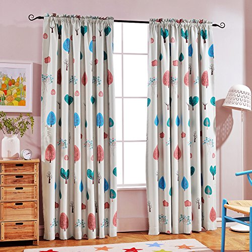 "Melodieux Cartoon Trees Room Darkening Rod Pocket Curtains/Drapes for Kids Room, 52""Wx63""L (1 Panel)"