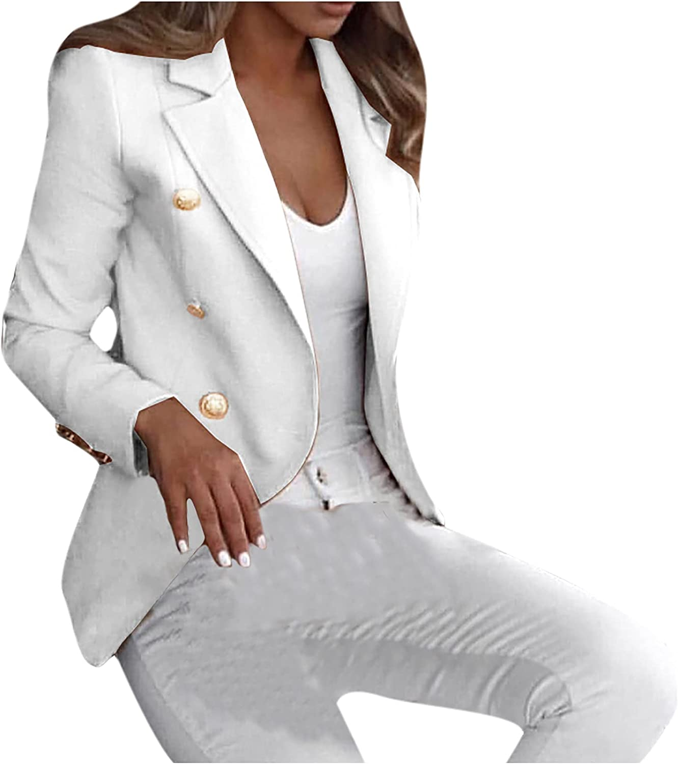 Fitted Blazer Jackets for Women Business Casual Long Sleeve Open Front Suit Fall Fashion Dressy Thin Cardigan Coat