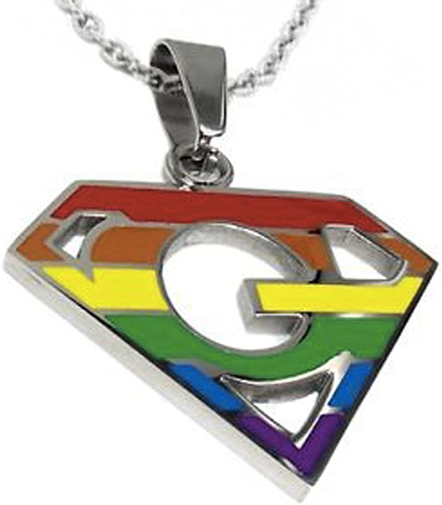 Super Gay - Rainbow Pendant - LGBT Gay and Lesbian Pride Necklace with Chain.