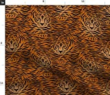 Spoonflower Fabric - Tiger Animal Print Head Black Brown Orange Stripe Skin Printed on Petal Signature Cotton Fabric by The Yard - Sewing Quilting Apparel Crafts Decor