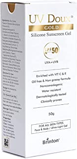 Brinton UV Doux Gold Silicone Sunscreen Gel SPF 50 pa+++ UVA/UVB With Broad Spectrum, Water Resistant Best SPF Sunscreen F...