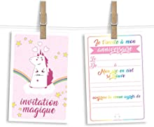 6 cartes et enveloppes invitation anniversaire | Anniversaire fille ou garçon | Thème Licorne