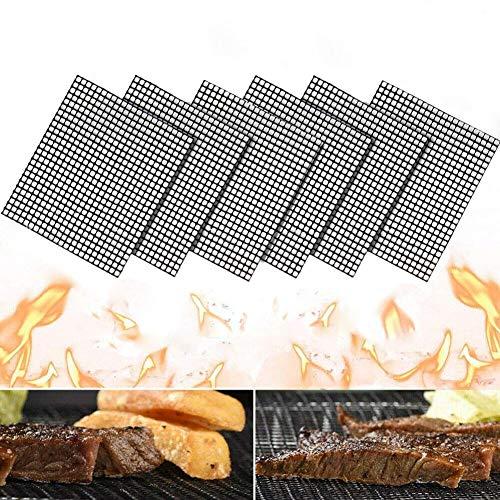 T6 Set di 6 Tappetini per Barbecue, Riutilizzabili Antiaderenti BBQ Griglia per Grigliare e Cuocere, per Grigliare Carne, Verdure, Cucinare