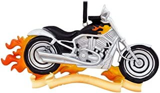 Personalized Harley Motorcycle Christmas Tree Ornament 2019 - VRSCA V-Rod Chopper Bike on Fire Hobby Sport Cycle Active Race Motorist Davidson Dad FLH Electra Glide Gift Year - Free Customization