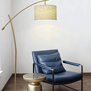 FMYZI Floor Lamp Swing Arm Standing Lamp Eye Protection Bedroom Bedside Lamp Fabric Lampshade Button Switch Standing Fixtures