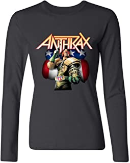 LSLEEVE Women's Anthrax Big A Pentagram Judge Dredd Tour Long Sleeve T-Shirt