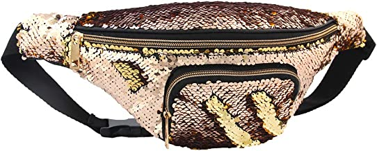 Play Tailor Mermaid Sequin Fanny Pack for Women Flip Sequin Waist Bag Bum Bags with PU Leather, Quality Enhanced Edition