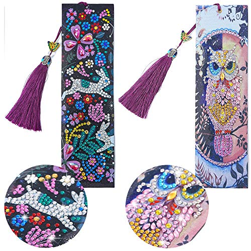 2Pcs 5D Diamond Painting Bookmarks Kits - Embroidery Cute Bookmarks with Tassel and Crystal, Paint by Numbers for Adults Art Crafts, Bookmarks for Women Kids (Owl & Rabbit)