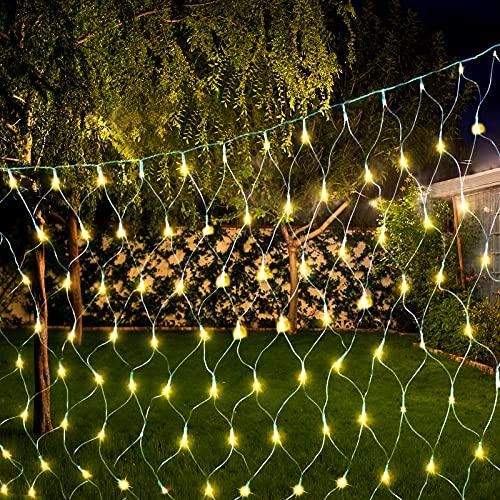Solar Lichternetz Aussen 3M x 2M, Vegena 204 LEDs Solar Lichterkette Netz, Solar Led Lichternetz Außen 8 Modi Warmweiß, Weihnachtsbeleuchtung Solar Wasserdicht IP44, Außenlichterkette Solar