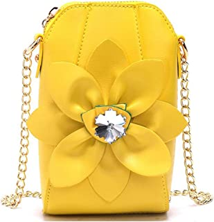 Tussy Ms. mobile phone bag mini bag chain shoulder bag rhinestone flower shoulder bag (Color : Yellow, Size : 11 * 6.5 * 18cm)