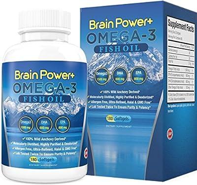 Omega 3 Fish Oil Burpless | 2200 mg Per Serving, 800 mg EPA, 600 mg DHA - 1500 mg Total Omega-3 - Triple Strength Pharmaceutical Grade Liquid Softgel Capsules - 180 Count - Full 90 Day Supply
