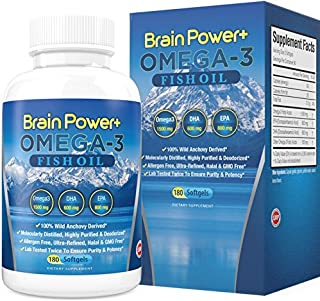 Omega 3 Fish Oil Burpless | 2200 mg Per Serving, 800 mg EPA, 600 mg DHA - 1500 mg Total Omega-3 - Triple Strength Pharmaceutical Grade Liquid Softgel Capsules - 180 Count - Full 90 Day Supply