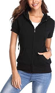 Women's Hoodie Zip up Short Sleeve Jacket w 2 Patch Pocket