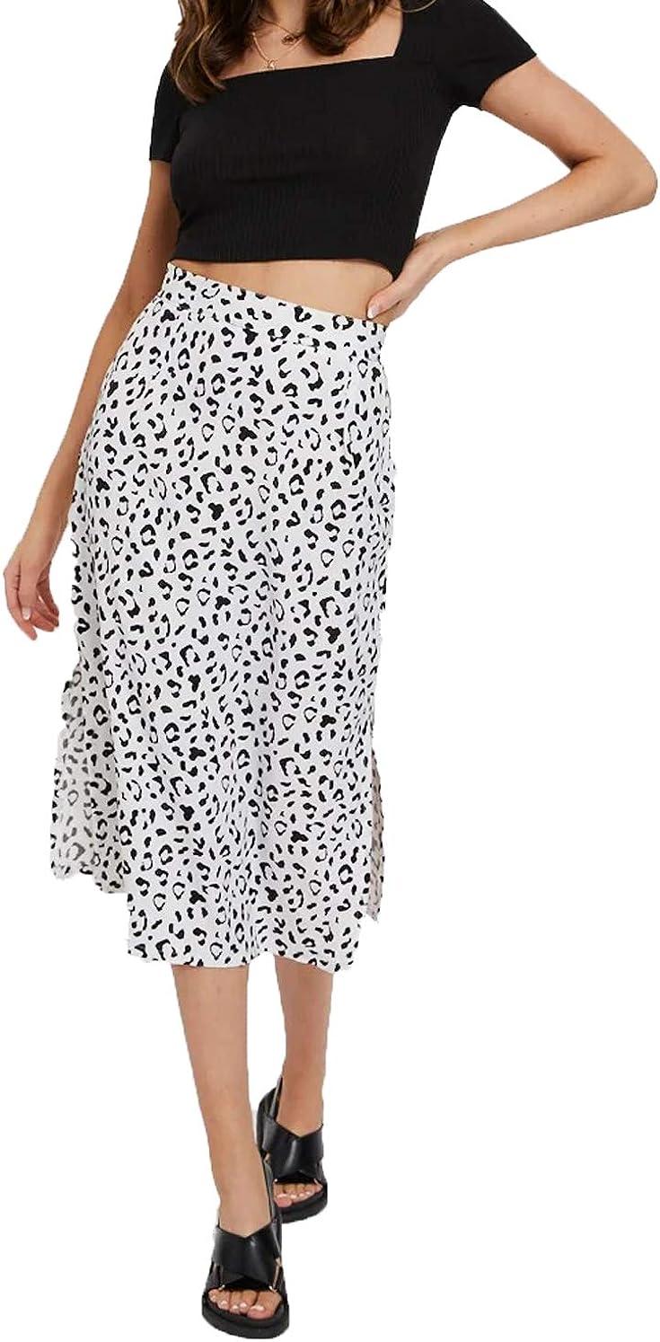 Women High Waist Maxi Skirt Leopard Long Skirt Side Split Midi Skirt Casual Pleated Skirt A-Line Elastic Waist Skirt