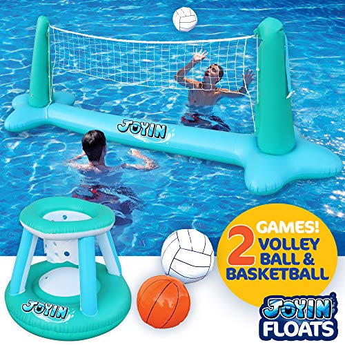 "Inflatable Pool Float Set Volleyball Net & Basketball Hoops Balls for Kids and Adults Swimming Game Toy, Floating, Summer Floaties, Pool Party, Volleyball Court (105""x28""x35"") Basketball (27""x23""x27"")"