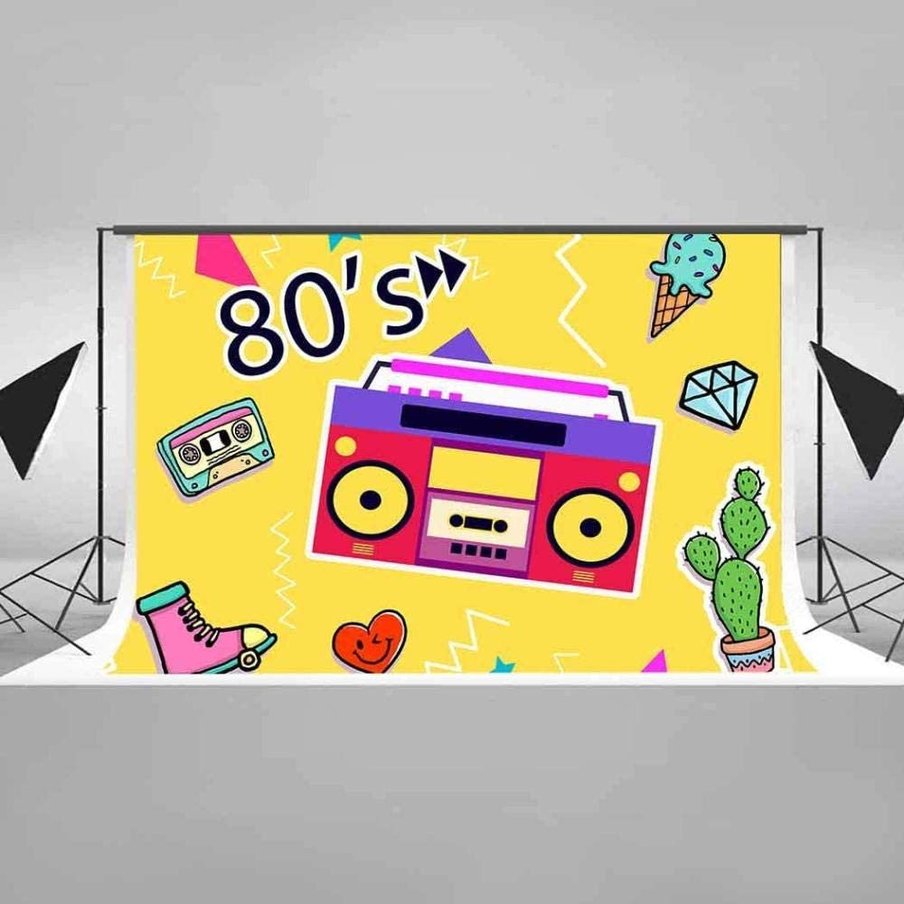 HD 7x5ft Vintage Recorder Backdrop Chessboard Photography Background 80 s Themed Retro Party Cotton Backdrop Photo Shoot Props EAZY0360 Wrinkle Resistance