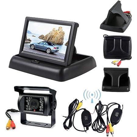 SUVs Motorhomes Wireless Reversing Camera Kit 18 LED Lights Super Night Vision Car Reversing Camera Rear View Camera Monitor Kit for Trucks