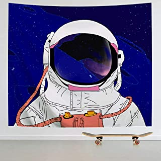 IcosaMro Astronaut Men Tapestry Wall Hanging, Cool Man in Outer Space Galaxy Wall Decor, [Hemmed Edges& Hooks] Hippie Man Wall Art for Bedroom Living Room College Dorm (Blue, 51x60)