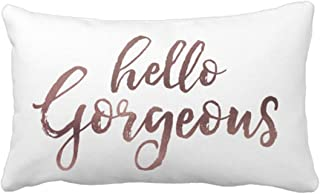 Emvency Throw Pillow Cover Hello Gorgeous Rose Gold Texture Decorative Pillow Case Home Decor Rectangle Queen Size 20x30 Inch Cushion Pillowcase