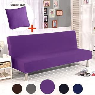 ele ELEOPTION Hengwei Armless Sofa Slipcover Stretch Sofa Bed Cover Protector Elastic Spandex Modern Simple Mattress Folding Couch Sofa Shield Futon Cover (Purple)