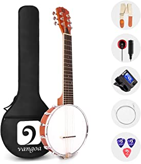 Vangoa 6 String Banjo Guitar Mini, 26 Inch Sapele Travel Banjo Guitar for Beginners with Bag, Pick-up, Strap, Picks