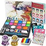 Jojoin 16 Colores Pinturas Cara, Pintura Facial, Maquillaje al Agua para Pascua/Carnaval, con 1...