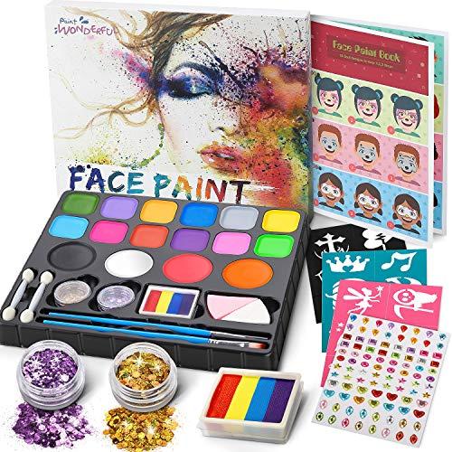 Jojoin Palette de Maquillage Enfants, 16 Couleurs Peinture de Visage, avec 1 Rainbow Cake + 94 Autocollant De Strass + Livret Tutoriel de Conception, Maquillage Fête De Noël Halloween Carnaval
