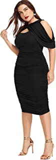 Milumia Women Plus Size Cold Shoulder Open Front Bodycon Knee Length Midi Draped Dress
