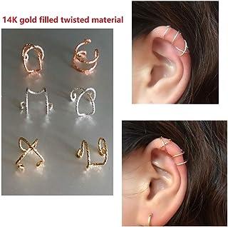 Peony.T 14k Gold Filled Simple/Helix Twist Line Ear Cuff Non Piercing Clip on Cartilage Earrings for Men Women Silver/Gold...