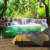 murimage Papel Pintado Cascada 3D 366 x 254 cm incluye pegamento Río de la Selva Bambú Agua verde Bosque baño Foto Mural