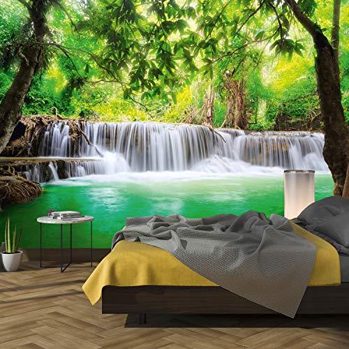 murimage Papier Peint Chute d'Eau 3D 366 x 254 cm colle inclus Photo Mural Jungle Cascade Forêt Rivière Bambou EauThaïlande Asie bureau enfants wallpaper