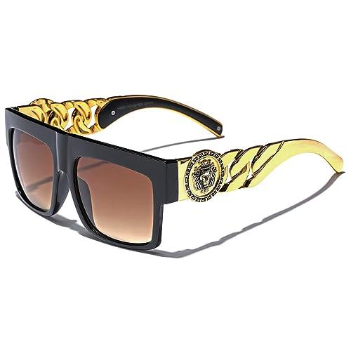 54a178a651be Flat Top Gold Chain Link Hip Hop Rapper Aviator Celebrity Sunglasses