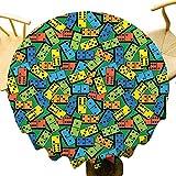 VICWOWONE Casino Decorations Collection - Mantel redondo de poliéster con patrón de dominó colorido y diseño creativo para fiestas, color verde, azul, amarillo, diámetro de 152 cm