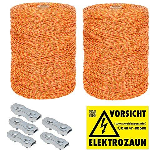 VOSS.farming 1000m-5000m Robuste Weidezaunlitze gelb-orange 3x0,20 NIRO + Verbinder und Warnschild Weidezaun Elektrozaun