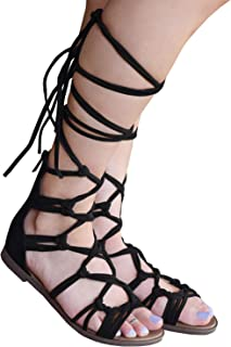 5ea89edeaec Syktkmx Women Gladiator Sandals Flat Strappy Lace Up Open Toe Summer Knee  High Sandals