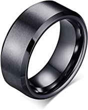VNOX (Free Engraving Personalized Tungsten Plain Band Ring for Men,Black,8mm Width