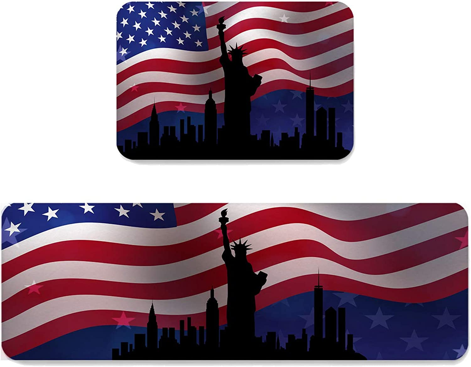 Sun-Shine Indoor Area Runner Rugs Water Absorb Doormats 2 Pieces, Patriotic Statue of Liberty Non-Slip Mat Entrance shoes Scraper Carpet Pads for Kitchen Hallway Floor Decorations, United States Flag