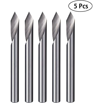 Size : 0.2mm Blue Coat CNC Router Bits 20 Degree 3.175mm Tungsten Steel Conical V-Bit Pack of 10 Carbide PCB Engraving CNC Bit Router Tool