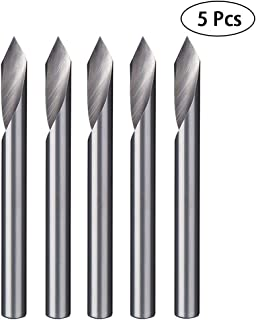 HUHAO Spiral 60 Degree V Groove Engraving Tool Flat Bottom CNC Router Bits 1/8 Inch Shank for Aluminum MDF Hard Wood Copper 5PCS