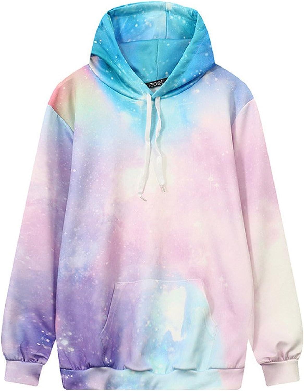 Coli&Tori Women's colorful Galaxy 3D Printed Hoodie Sweatshirt with Kangaroo Pocket