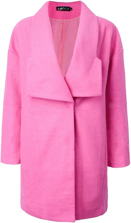 Elegant Slim Solid Button Long Woolen Coat