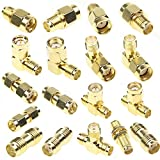 SMA Connector Kits Set 18 in 1 Adapter SMA RP SMA Male and Female RF Coax Coupling Nut Barrel Connector Converter for WiFi Antenna / FPV Drone / Extension Cable