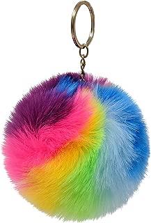 SIMPLICHIC-Luxury Faux Rabbit Fur Pom Pom Keychain Gorgeous Gold Colored Keyring (Original (Rainbow))