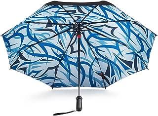 Smart with Sunscreen Black Umbrella Double Folding Umbrella Umbrella UV Sun Umbrella Huhero (Color : Blue)