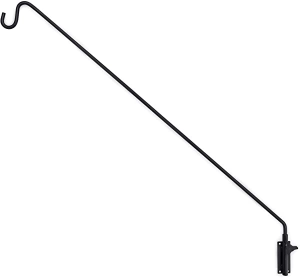 Gray Bunny GB 6833 Heavy Duty Extended Reach Wall Mounted Deck Hook Wall Pole 49 Inch Black Wall Bracket For Bird Feeders Planters Suet Baskets Lanterns Wind Chimes And More