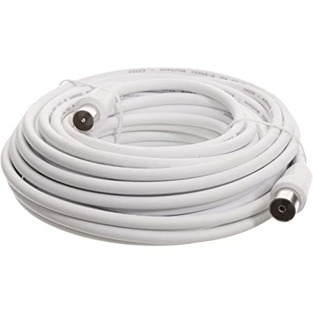 Hama Câble d'antenne, Coax mâle - Coax femelle, 75dB, Blanc, 10,00m