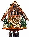 Orig. Reloj de Cuco Schwarzwälder (Certificado), 8 días, mecánico, música, Bailarinas, 40 cm, 5 años de garantía, Taller especializado con Hacker de Madera, Selva Negra