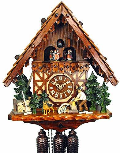 Orig. - Orologio a cucù della Foresta Nera, 8 giorni, meccanico, musica, ballerino, 40 cm, con zappa in legno, foresta nera