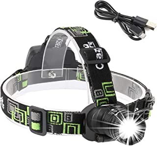 CrazyFire Rechargeable Headlamp, Super Bright 3000mAh Headlight Flashlight,3 Modes Zoomable Head Flashlight for Camping, Running,Fishing,Hiking,Hunting